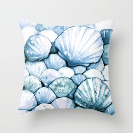 Sea Shells Teal Throw Pillow