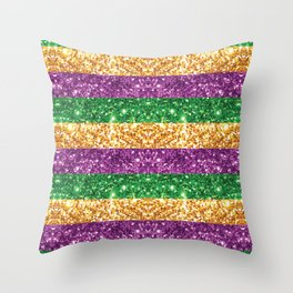 New Orleans Mardi Gras Glitter Stripes Purple Green Gold #society6 Throw Pillow