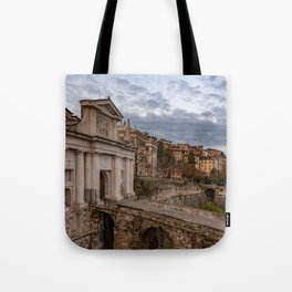 Side view of Porta San Giacomo and the walls of the upper city of Bergamo Tote Bag