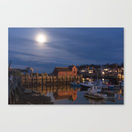 Rockport Harbor at night Canvas Print