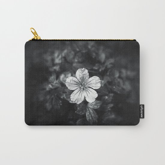 Minimalistic black and white flower petal Carry-All Pouch