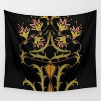 art nouveau Wall Tapestries featuring art nouveau by Ariadne