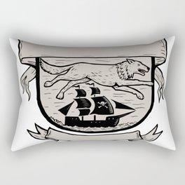 Wolf Running Over Pirate Ship Crest Scratchboard Rectangular Pillow