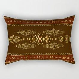 Golden Ethnic Tribal Composition Rectangular Pillow