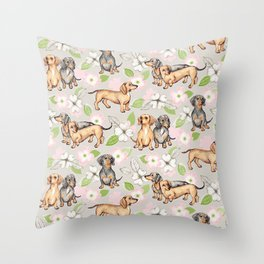 Dachshunds and dogwood blossoms Throw Pillow