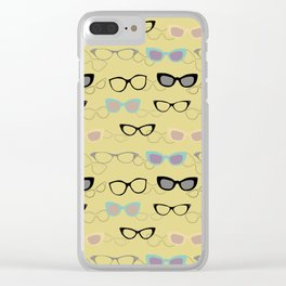 1950's Specs on Chartreuse Clear iPhone Case