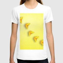 Butterflies on buttercup yellow chevron pattern T-shirt