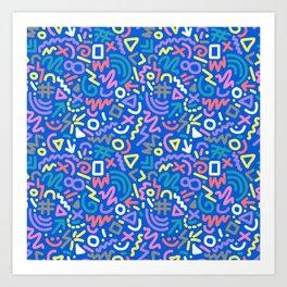 Bright Hand-Drawn 90s Pattern Art Print