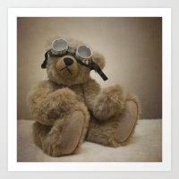 teddy bear Art Prints featuring Teddy by Mary Kilbreath
