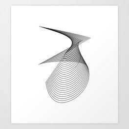 """Linear Collection"" - Minimal Number Three Print Art Print"