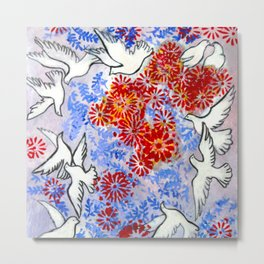 Floral Doves  #society6 #decor #buyart Metal Print