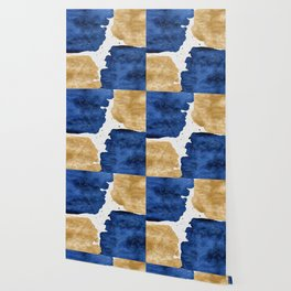 Gold and Navy Blue paint Wallpaper