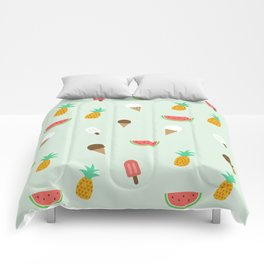Summer Pattern cute ice creams, watermelon & pineapples Comforters