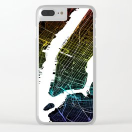 Colourful City Map of New York, USA Clear iPhone Case