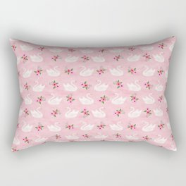 Swan, swan art, swan pattern, floral Rectangular Pillow