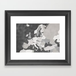 Distressed map of Europe in gray - PRINTS IN SIZES L and XL ONLY Framed Art Print
