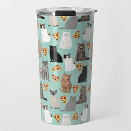 Cats with Pizza slices cheesy food funny cat lover gifts by pet friendly pet portraits Travel Mug