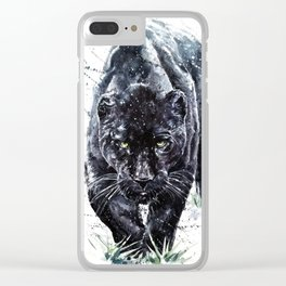 Panther watercolor painting predator animals puma jaguar wild & fre Clear iPhone Case