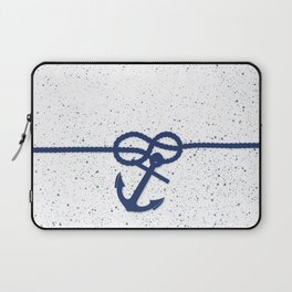 Nautical navy blue white anchor watercolor splatters Laptop Sleeve