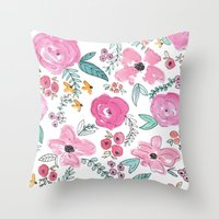 sayings Throw Pillows featuring Pink Watercolor Floral Print  by Jenna Kutcher