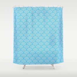 Blue Concentric Circle Pattern Shower Curtain
