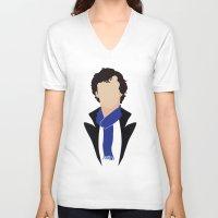 sherlock holmes V-neck T-shirts featuring 1 Sherlock Holmes by Alice Wieckowska