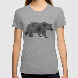 Floral Line Work Bear in Black T-shirt
