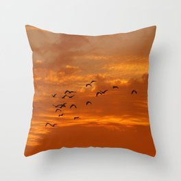 Birds and sunset Throw Pillow