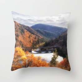 Lake Britton into the Pit River in the Fall Throw Pillow