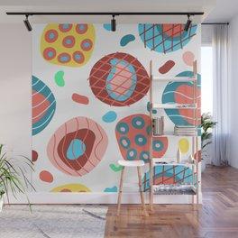 Colorful Irregular Shapes Circles Lines and Dots Wall Mural