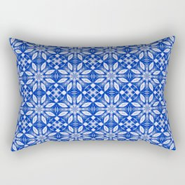 Sapphire Blue Floral Pattern Rectangular Pillow