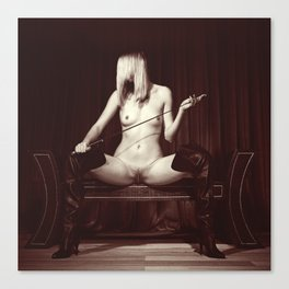 Kinky fetish image with a nude beauty Canvas Print