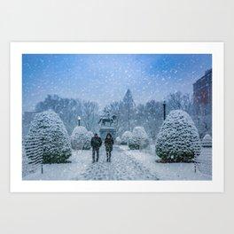 Snow in Boston Art Print