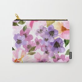 Pink Purple Watercolor Flowers Carry-All Pouch