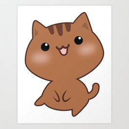 Smiling Brown Cat Cartoon Art Print