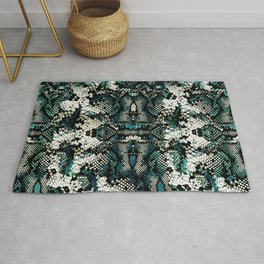 Teal Animal Print Pattern Rug