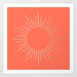 Simply Sunburst in Deep Coral Kunstdrucke