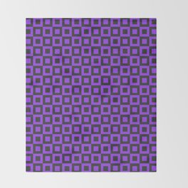 PURPLE AND BLACK SQUARES Throw Blanket