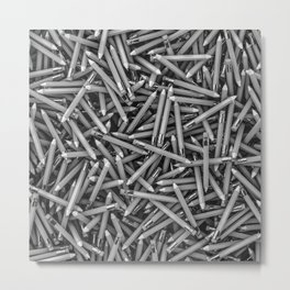 Pencil it in B&W / 3D render of hundreds of pencils in black and white Metal Print