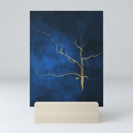 Kintsugi Electric Blue #blue #gold #kintsugi #japan #marble #watercolor #abstract Mini Art Print