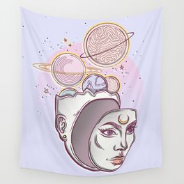 Face Falling From Space Wall Tapestry