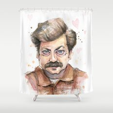Ron Swanson Love Valentine Portrait Shower Curtain