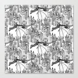 Dragon Kingdom Winter Toile Canvas Print