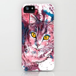 Cat Portrait, pink and purple shades, abstract acrylic painting iPhone Case