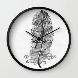 Black and White Feather Zen Wall Clock