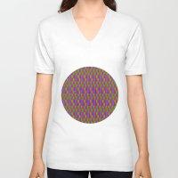 quilt V-neck T-shirts featuring Caterpillar Quilt by Peter Gross