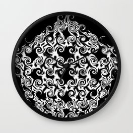 Curlicues Pentagon Black and White Pattern Wall Clock