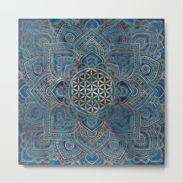 Flower of Life in Lotus Mandala - Blue Marble and Gold Metal Print