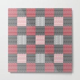 Red, White & Black Pattern Attack Metal Print