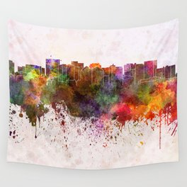 Oakland skyline in watercolor background Wall Tapestry